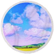 Farm Near San Luis Obispo Round Beach Towel