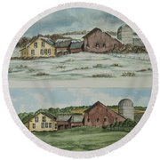 Farm Of Seasons Round Beach Towel