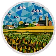 Farm On Hwy 28 Framed  Round Beach Towel