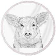 Farm Pig In Pointillism Round Beach Towel