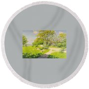 Farm Scene With Pecking Chickens Round Beach Towel