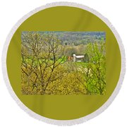 Farm Seen From Culp Hill Lookout In Gettysburg National Military Park-pennsylvania Round Beach Towel