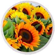 Farm Stand Sunflowers #8 Round Beach Towel