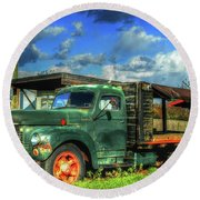 Farm Stand Truck Round Beach Towel