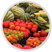 Farm To Market Produce - Melons, Corn, Tomatoes Round Beach Towel