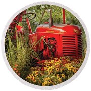 Farm - Tractor - A Pony Grazing Round Beach Towel by Mike Savad