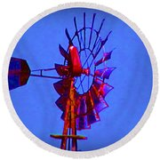 Farm Windmill Round Beach Towel