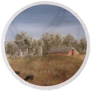 Farm With Cows  Round Beach Towel