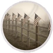 Farm With Fence And American Flags Round Beach Towel