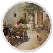 Farm Yard Scene Round Beach Towel