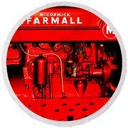Farmall Engine Detail Round Beach Towel
