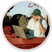 Farmer With Laptop And Cell Phone Round Beach Towel