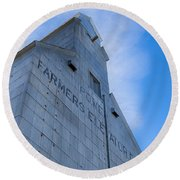 Farmers Grain Elevator, Power, Montana Round Beach Towel