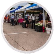 Farmers Market Before The Crowd Round Beach Towel