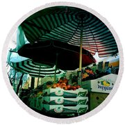 Farmers Market With Striped Umbrellas Round Beach Towel