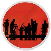 Farmers Night Out Round Beach Towel