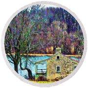 Farmhouse By The Lake Round Beach Towel