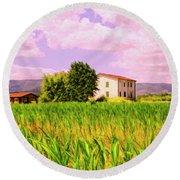 Farmhouse In Tuscany Round Beach Towel