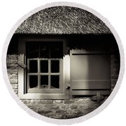 Farmhouse Window Round Beach Towel