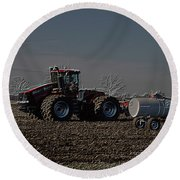 Farming April In The Field On The Case 500 Pa Round Beach Towel