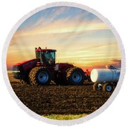 Farming April In The Field On The Case 500 Round Beach Towel