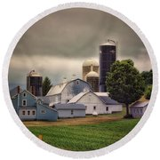 Farming Before The Storm Finger Lakes New York 04 Round Beach Towel