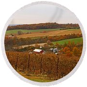 Farming In The Valley Round Beach Towel
