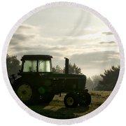 Farming John Deere 4430 Round Beach Towel
