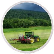 Farming New York State Before The July Storm 02 Round Beach Towel