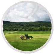 Farming New York State Before The July Storm 03 Round Beach Towel