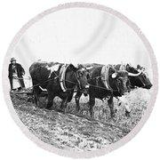Farming: Ploughing, C1930 Round Beach Towel