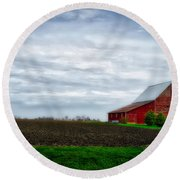 Farming Red Barn On A Quite Spring Day Round Beach Towel