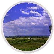 Farmland In Gettysburg Version II Round Beach Towel