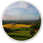 Farmland View Round Beach Towel