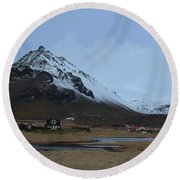 Farms At The Base Of Mt Stapafell In Iceland Round Beach Towel