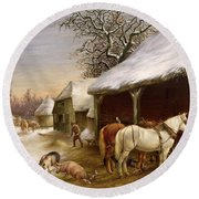 Farmyard In Winter  Round Beach Towel