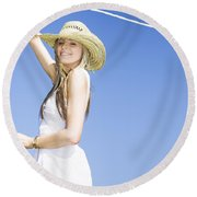 Farmyard Life Round Beach Towel