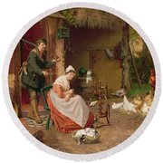Farmyard Scene Round Beach Towel by Jan David Cole