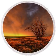 Fascinations - Warm Light And Rumbles Of Thunder In The Oklahoma Panhandle Round Beach Towel