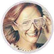 Fashion Eyewear Pin-up Round Beach Towel