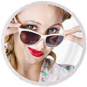 Fashionable Woman In Sun Shades Round Beach Towel