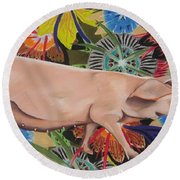 Fashionista Pig Round Beach Towel