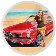 Fast Back And I  Round Beach Towel
