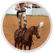 Fast Draw Cowboy Round Beach Towel