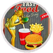 Fast Food Of The Day Round Beach Towel