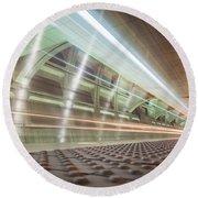 Fast Moving Long Exposure Of Subway Train Underground Tunnel Round Beach Towel