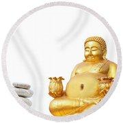 Fat Happy Buddha In Meditation Round Beach Towel