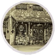 Fat Hen Grocery Sepia Round Beach Towel