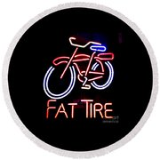 Fat Tire Neon Sign Round Beach Towel