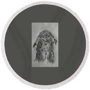 Father And Puppy  Round Beach Towel